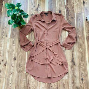 NWOT long sleeve chiffon button up dress by f21
